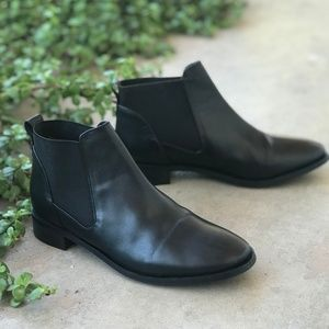 Topshop Leather Black Chelsea Ankle Booties Boots